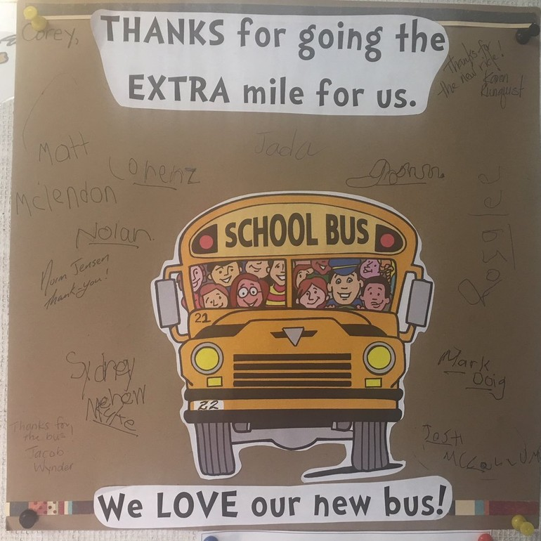 Thank you letter from one of our Magrath School Busses.